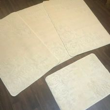 ROMANY GYPSY WASHABLES SET OF TOURER SIZES 67X110CM MATS-RUGS ROSE SUMMER CREAM
